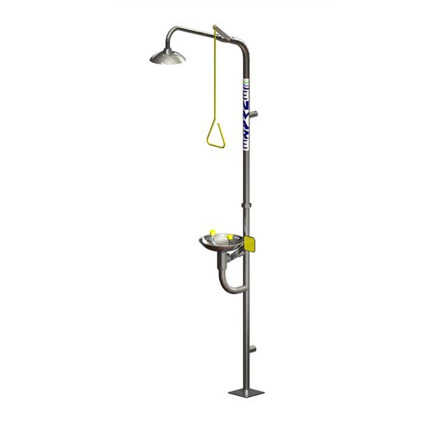 Freestanding Safety Shower with Hand Operated Eye Wash