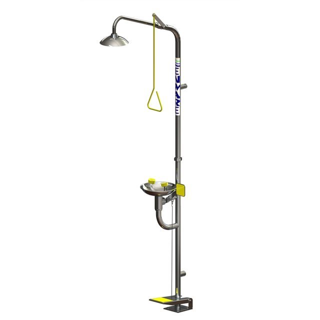 Freestanding Shower with Hand/Foot Operated Eye/Face Wash