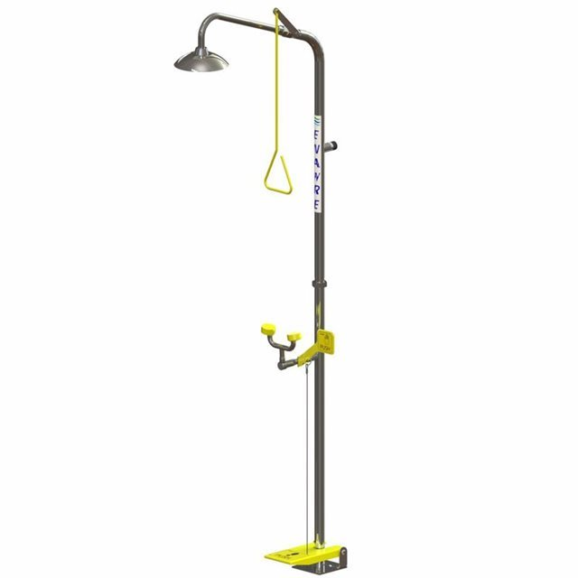 Freestanding Shower with Hand/Foot Operated No-Bowl Eye/Face Wash